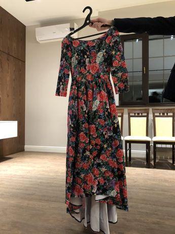 Длинное платье, платье в пол, в цветочек