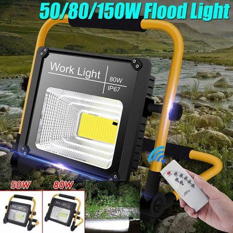 Мощен соларен прожектор 50/80/120W с дистанционно и сгъваем дизайн