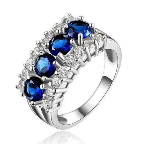 GPR153,inel placat aur alb 18k, model masiv, zirconiu alb/albastru