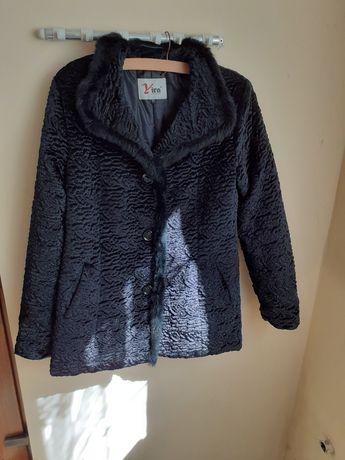 haină de blană de codite de nurcă culore neagră