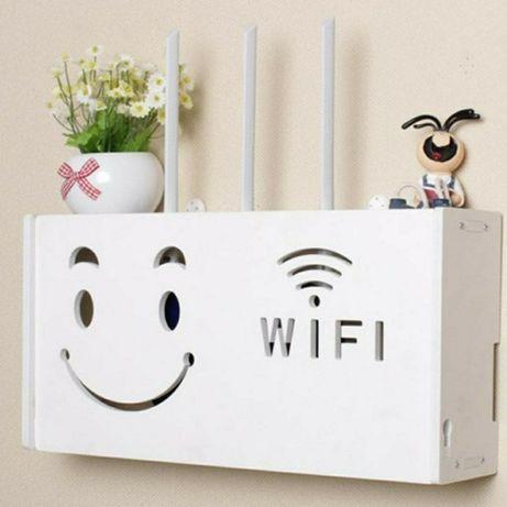 Raft suport Router Wireless din MDF pentru mascare echipament WiFi
