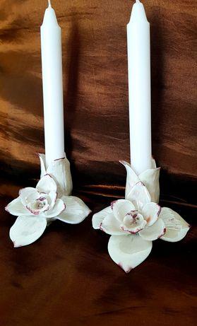 Прекрасни Керамични Свещници /Орхидея/
