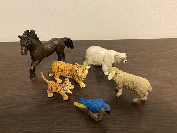 Set 6 figurine animale Schleich - cal, oaie, urs polar, tigru, papagal