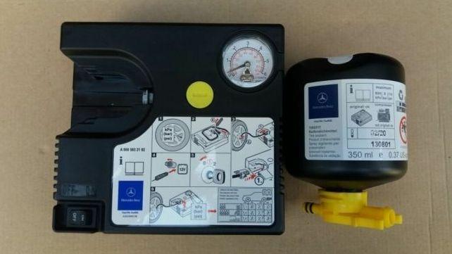 Compresor auto umflat roti + solutie Kit pana original Mercedes Nou