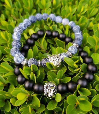 Bratara cu bile albastre aplicatie leopard