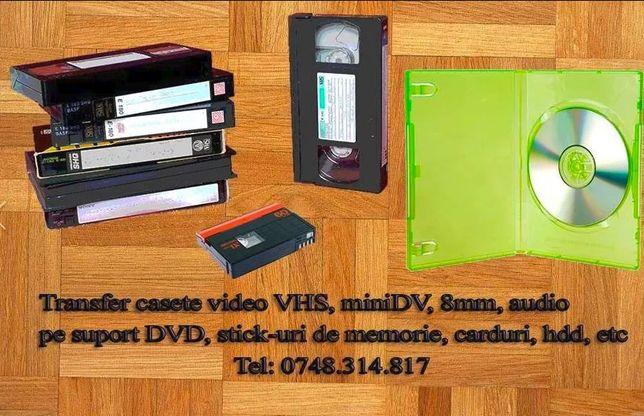 Casete digital video transfer: VHS, VHS-C, miniDV pe DVD, USB-stick