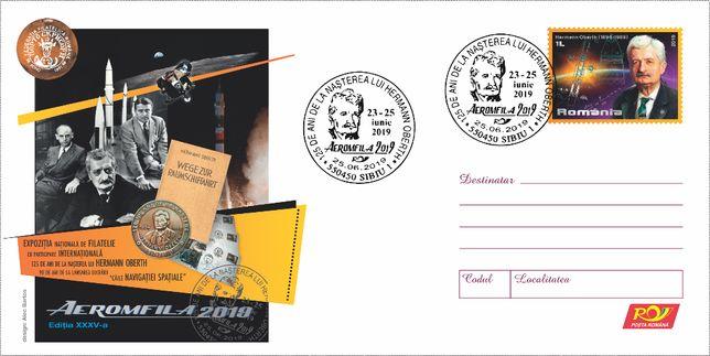 Plic întreg poştal DL Aeromfila 2019 Hermann Oberth necirculat. Rar!