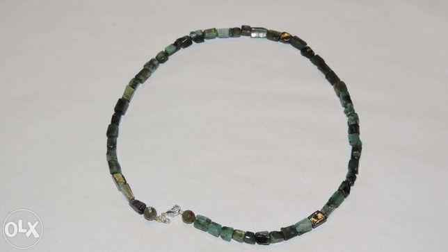 Colier argint 925 adus din USA cu pietre semipretioase smarald Sakota