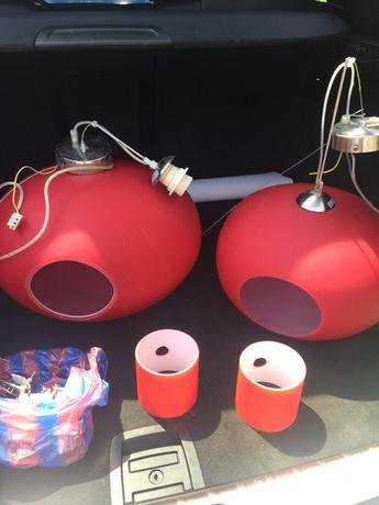 Комплект червен полюлей,нощни лампи/стъклени