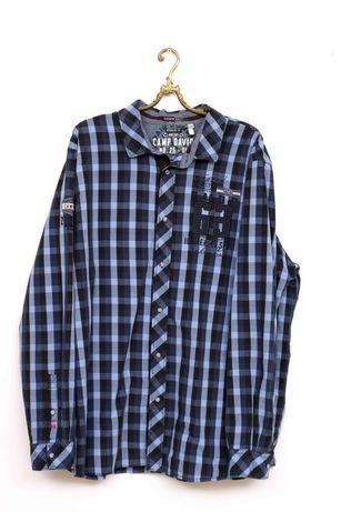 CAMP DAVID Мъжка синя карирана риза с дълъг ръкав размер 3XL