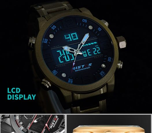 RISTOS 9338 Ceas electronic pentru bărbați, rezistent la apa, deosebit