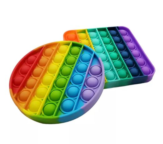 Големи Квадратни Popit Rainbow Pop it попит / поп ит силиконова fidget