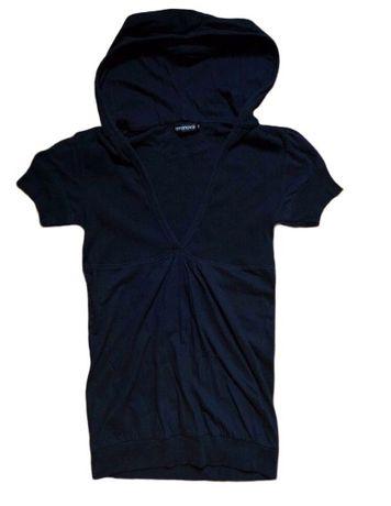 Tricou Helanca Terranova negru gluga decoltat stil Bershka