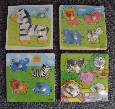 Puzzle 3D lemn cu masini, animale NOI Jucarii lemn Montessori