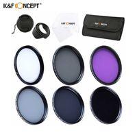 K&F Concept Комплект 6 филтъра UV CPL FLD ND2 ND4 ND8 + сенник