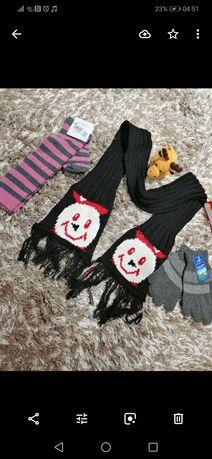 Нов комплект шал , ръкавици и чорапи - машинно плетиво