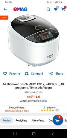 Multicooker Bosch MUC11W12, 940 W, 5 L, 48 programe, Timer, Alb/Negru