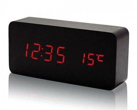 Ceas digital fashion LED Alarma Termometru Display pe Lemn - BLACK/Red