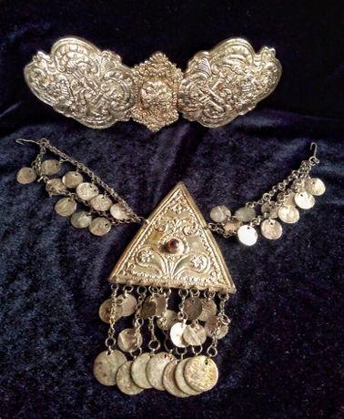 Пиринска Македония Възрожденски накит ,пафти сребърна гривна рогатк
