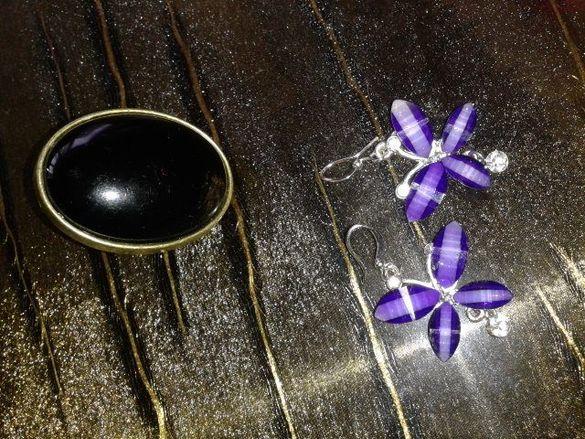 обеци и пръстен лот