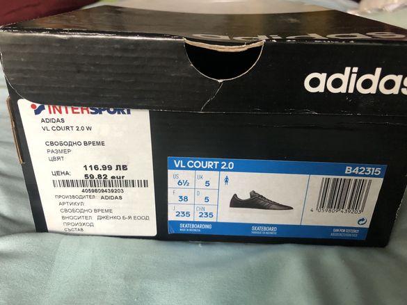 Adidas VL COURT черни кожени маратонки
