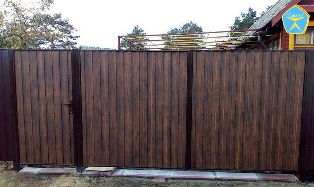 Металлические распашные ворота (откатные). Заборы под дерево.