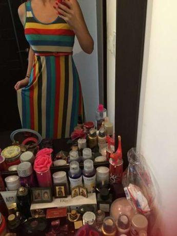 Луксозна пъстроцветна ефирна лятна рокля много красива С/М/Л