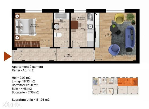 Apartament cu gradina mare_zona metrou Leonida_decomandat_Dezvoltator