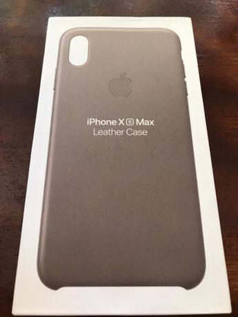 Husa Apple Piele iPhone Xs Max Taupe Gri ORIGINALA! Folie Cadou