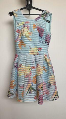 Vand rochie turcoaz cu flori