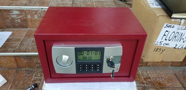 Seif metal roșu cu LCD
