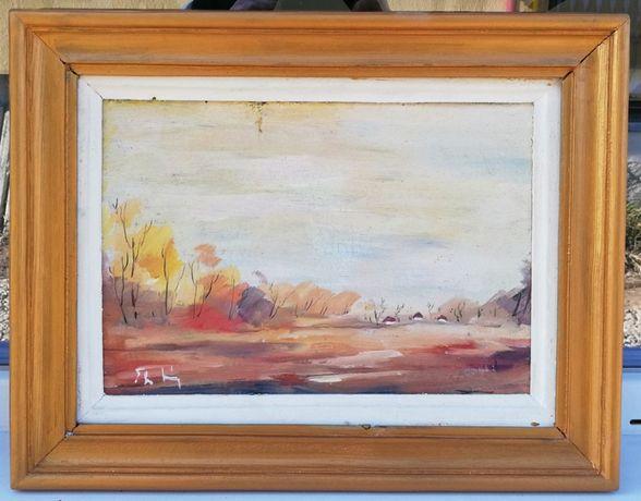 Tablou Theofil Baciu Peisaj de Toamna pictura ulei inramata 36x45cm