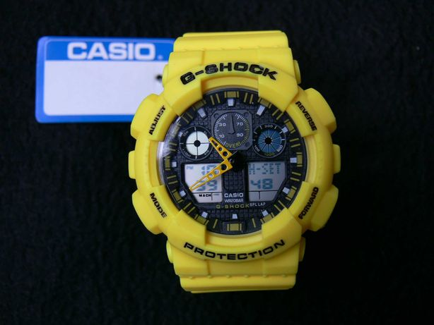 Ceas Sport Casio G-SHOCK GA-100 Lemon Yellow Galben ! 2021 !! (fossil)