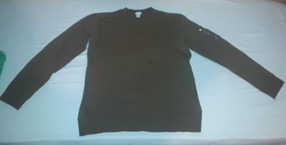 Тъмно кафяв стилен и марков мъжки пуловер H&M, размер: М