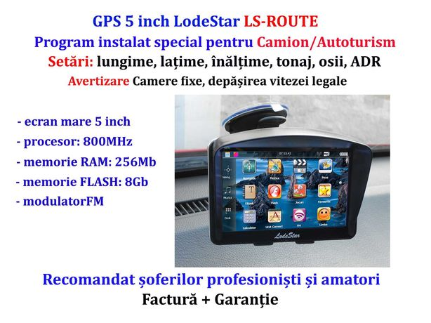 "Navigatie GPS 5""HD NOU+Parasolar program iGO+harti EU+RO setari Camion"