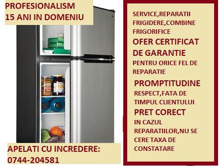 Reparatii frigidere,combine frigorifice, cu garantie-AUTORIZAT