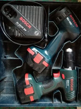 Винтоверт Bosch с 2 батерии, зарядно и фенер