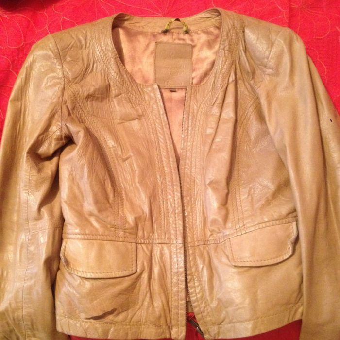 Кожаная куртка Massimo Dutti, размер 40,xs