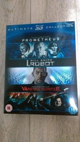 Lot 3 filme blu-ray 3d Prometheus I,Robot Abraham Lincoln blu-ray 3d