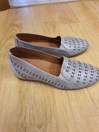 Туфли итальянские кожаные серебряные