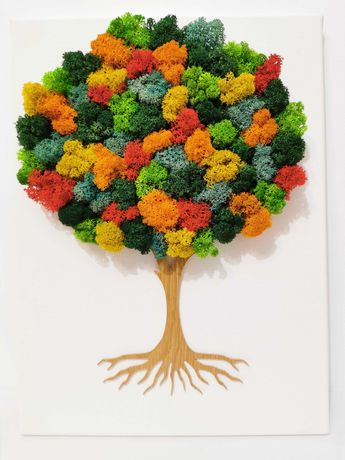 Tablou Copac cu licheni stabilizati multicolori pe canvas
