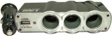 Distribuitor - priza auto X 3 cu iesire mufa USB, 5 V/ 500 mA