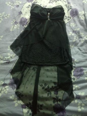 Официална черна,къса рокля с воал
