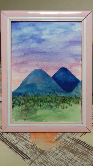 Картина с акварел - Планините в Гърция