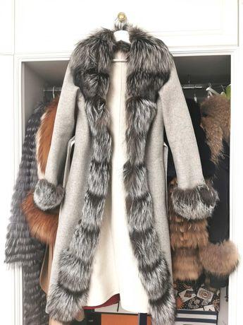 Palton alpaca blana naturala vulpe