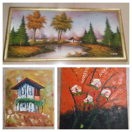 3 картини картина изкуство къща горски пейзаж цветя масло