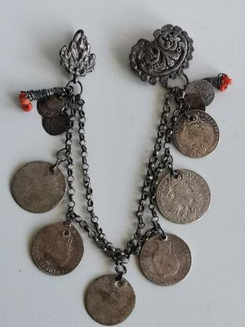 Възрожденски сребърен нагръден накит. Сребро/сачан. Носия.