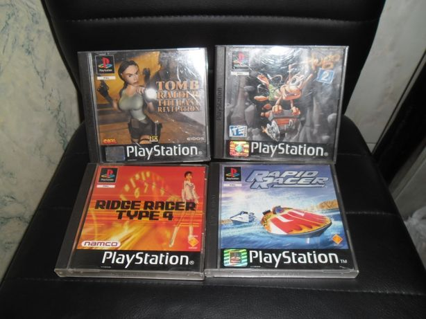 Ridge Racer Type 4,Tomb Raider,Rapid Racer,Hugo2 Ps1