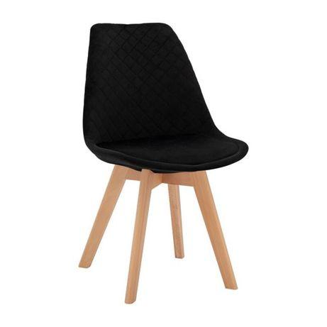 Стол венеция с дървени крака - черно кадифе