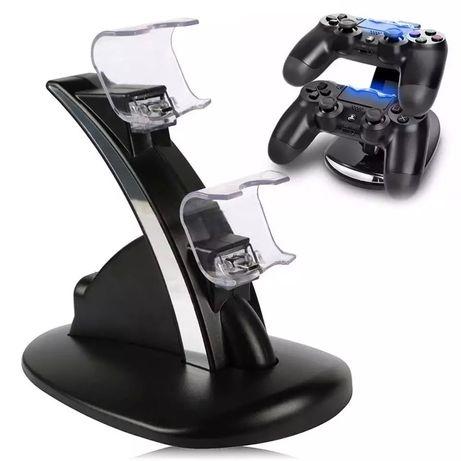 Dock incarcare controller dual usb cu led pentru PS4, negru